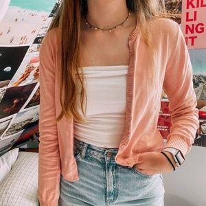 blush colored cardigan